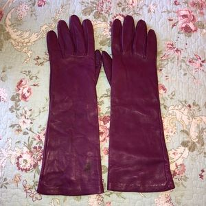 Talbots purple leather gloves